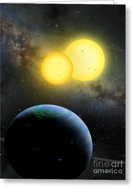 Planetary System Paintings Greeting Cards - Kepler-35 Greeting Card by Lynette Cook