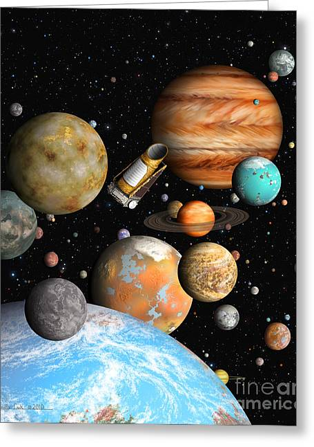 Planetary System Paintings Greeting Cards - Keplers Worlds Greeting Card by Lynette Cook