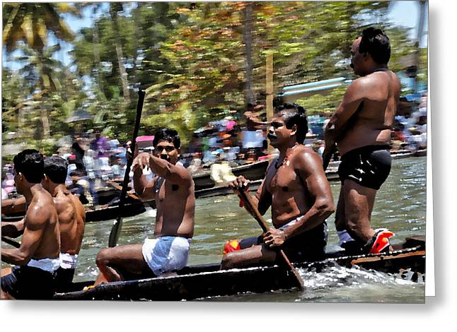 Bare Chested Greeting Cards - Kerala Snake Boat Race Greeting Card by Kantilal Patel