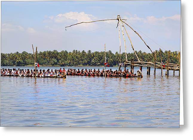 Bare Chested Greeting Cards - Kerala Snake Boat Race Start Line Greeting Card by Kantilal Patel