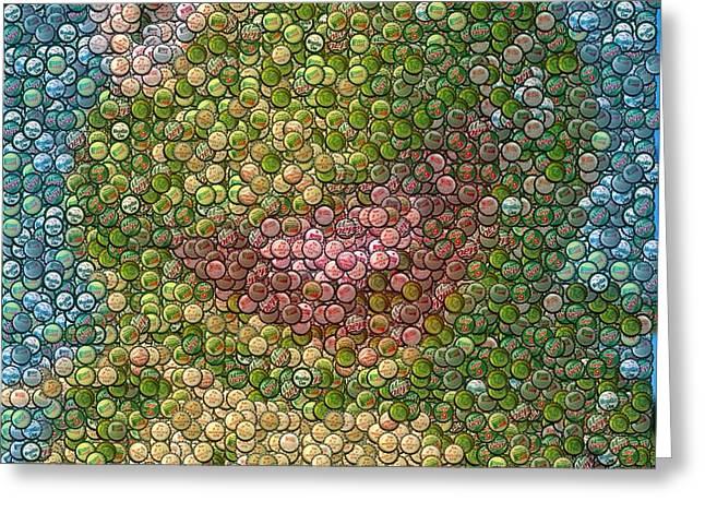 Kermit Mt. Dew Bottle Cap Mosaic Greeting Card by Paul Van Scott