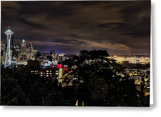 Seattle Photographs Greeting Cards - Kerry Park Night View Greeting Card by James Heckt