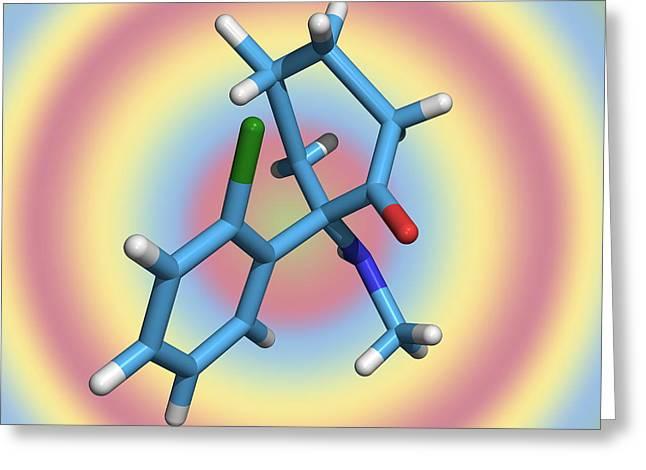 Hallucination Greeting Cards - Ketamine Molecule, Recreational Drug Greeting Card by Dr Tim Evans
