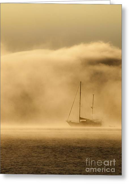 Ketch In Mist Greeting Card by Avalon Fine Art Photography
