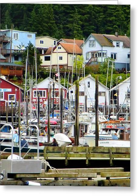 Docked Boats Digital Art Greeting Cards - Ketchakan Alaska Marina Greeting Card by Mindy Newman