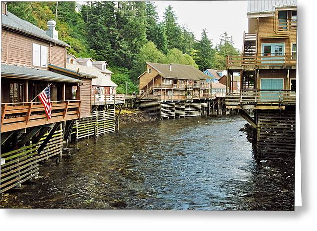 Alaskan Architecture Greeting Cards - Ketchikan Creek Buildings Greeting Card by Michael Peychich