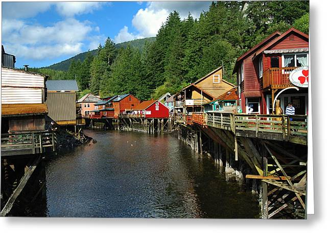 Alaskan Architecture Greeting Cards - Ketchikan Creek Greeting Card by Michael Peychich