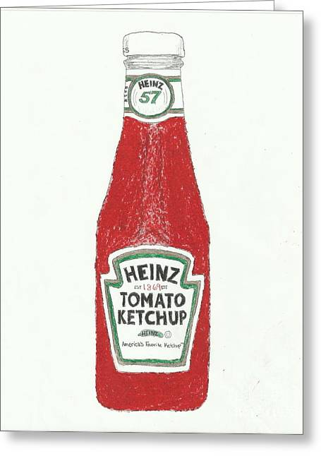 Heinz Ketchup Greeting Cards - Ketchup Number 1 Greeting Card by Jasmine Norris-Dixson