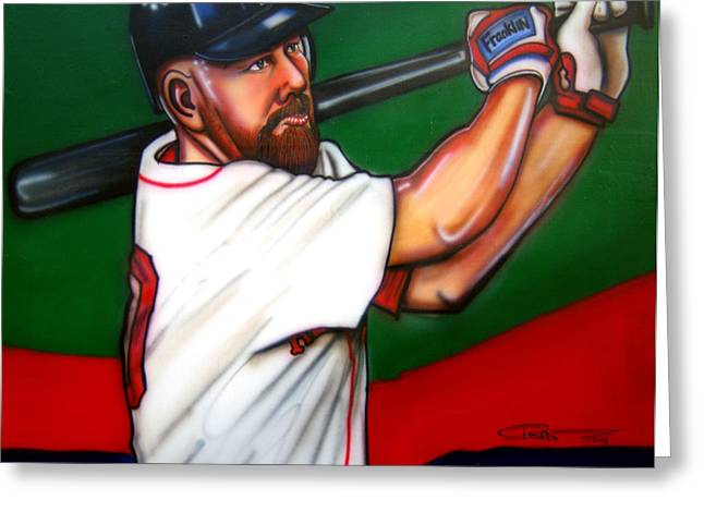Red Sox Paintings Greeting Cards - Kevin Youkilis Greeting Card by Dave Olsen