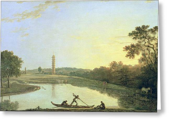 Landmark And Bridges Greeting Cards - Kew Gardens - The Pagoda and Bridge Greeting Card by Richard Wilson