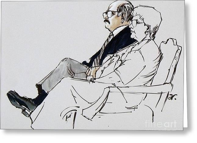 Observer Drawings Greeting Cards - Key court observer and wife Greeting Card by Armand Roy