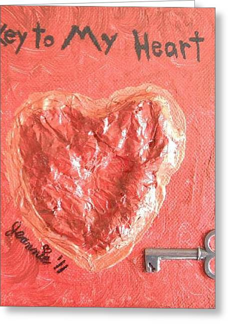 Jordan Mixed Media Greeting Cards - Key to My Heart Greeting Card by Jeannie Atwater Jordan Allen