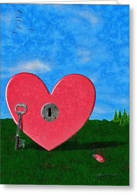 Key To My Heart Greeting Card by Jeff Kolker