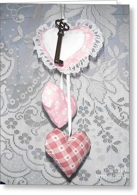 Jordan Wall Art Greeting Cards - Key to My Heart Lacy Valentine Greeting Card by Jeannie Atwater Jordan Allen