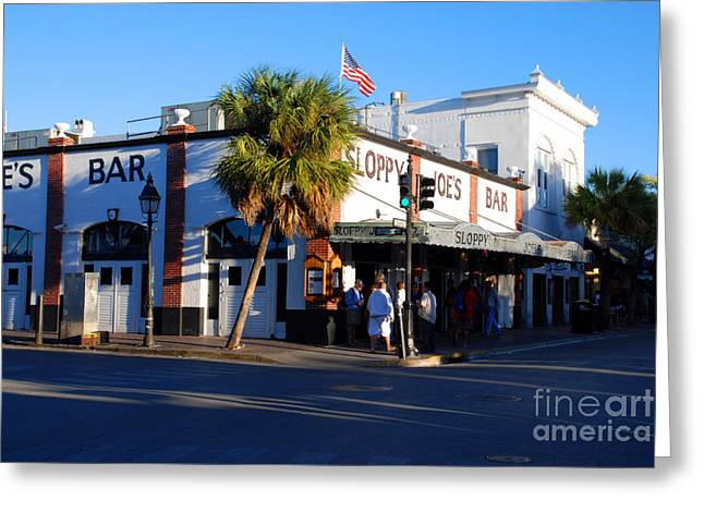 Touristy Greeting Cards - Key West Bar Sloppy Joes Greeting Card by Susanne Van Hulst