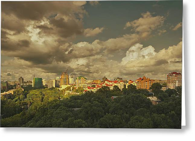 Development Greeting Cards - Khabarovsk City Skyline With New Greeting Card by Tatiana Boyle