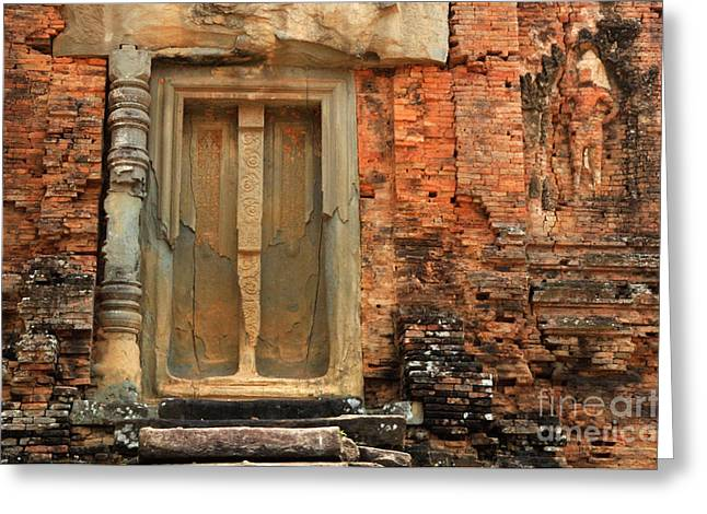 Overgrown Greeting Cards - Khmer Ruin Doorway Greeting Card by Bob Christopher