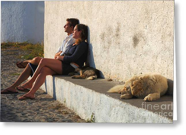 Kicking Back In Greece Greeting Card by Bob Christopher