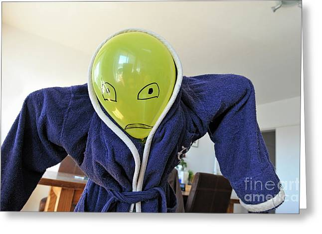 Bathrobe Greeting Cards - Kid in dad bathrobe hiding face with balloon Greeting Card by Sami Sarkis