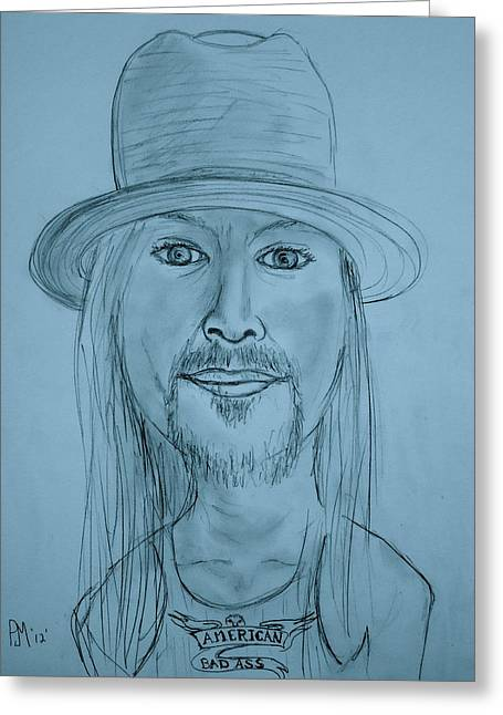Bad Ass Drawings Greeting Cards - Kid Rock Greeting Card by Pete Maier