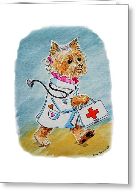 Room Decoration Greeting Cards - Kids Art Dogtor Greeting Card by Irina Sztukowski