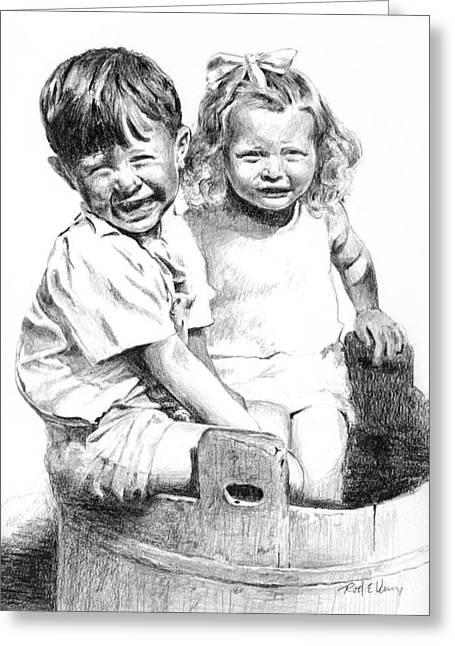 Shading Drawings Greeting Cards - Kids in Tub Greeting Card by Rod Varney