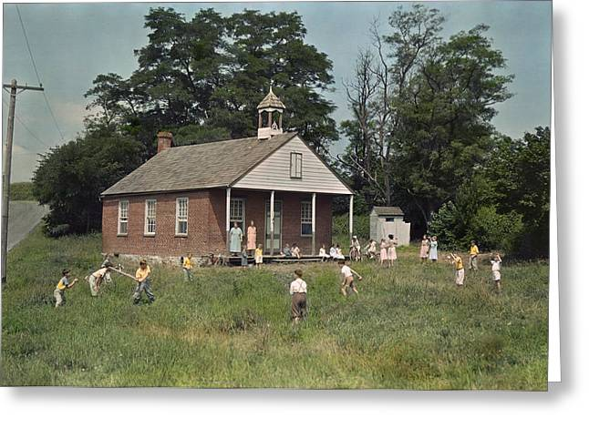 Outbuildings Greeting Cards - Kids Play Baseball During Recess Greeting Card by J. Baylor Roberts