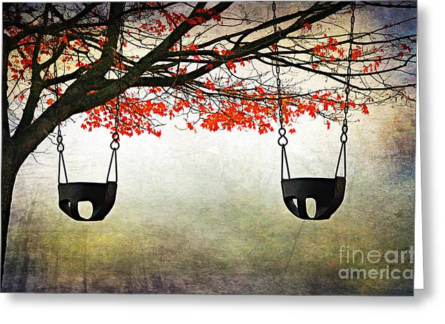 Swingset Greeting Cards - Kids Play Greeting Card by Darren Fisher
