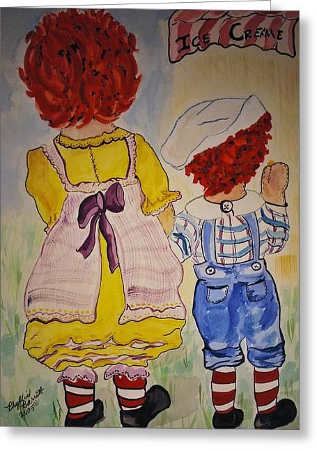 Babysitting Greeting Cards - Kiki and Davy Greeting Card by Phyllis Barrett