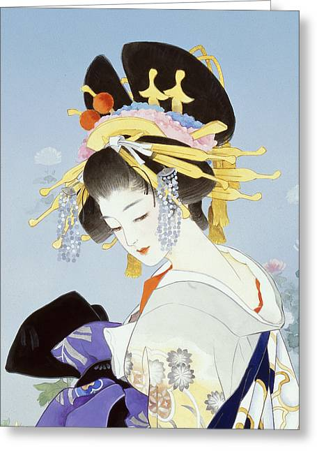 Purple Robe Greeting Cards - Kiku Greeting Card by Haruyo Morita