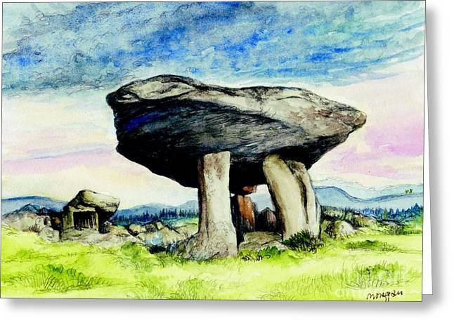Tomb Mixed Media Greeting Cards - Kilclooney Dolmen Greeting Card by Morgan Fitzsimons