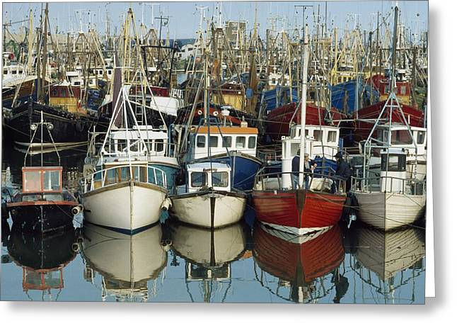 Boats On Water Greeting Cards - Kilkeel, Co Down, Ireland Rows Of Boats Greeting Card by The Irish Image Collection