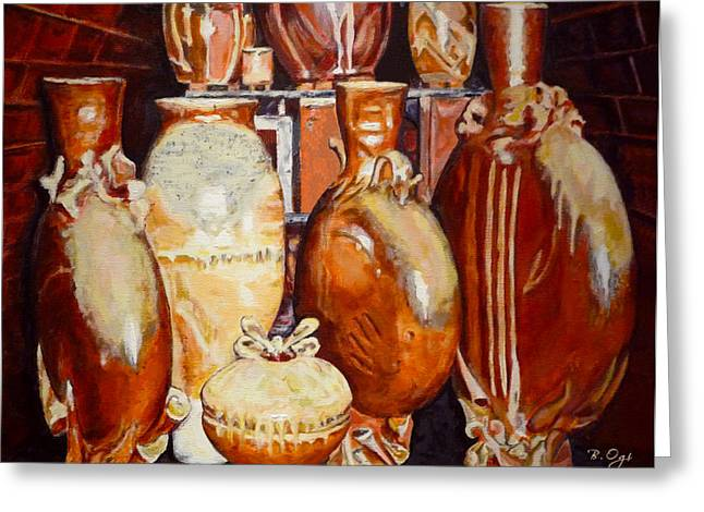 Still Life Ceramics Greeting Cards - Kiln Party Greeting Card by Brian Ogi