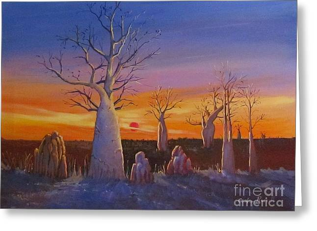 Mound Paintings Greeting Cards - Kimberley Boab Trees At Sunset Greeting Card by Audrey Russill