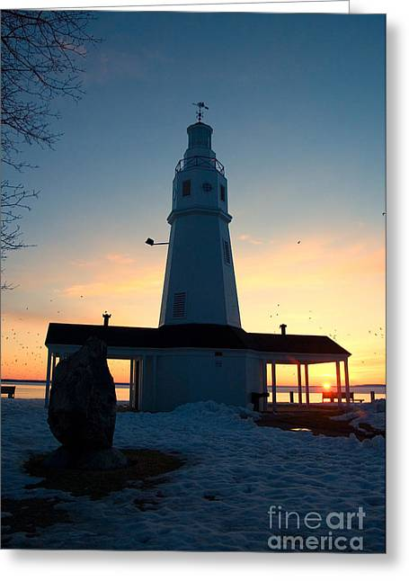Cold Morning Sun Greeting Cards - Kimberly Pointe Lighthouse Greeting Card by Joel Witmeyer