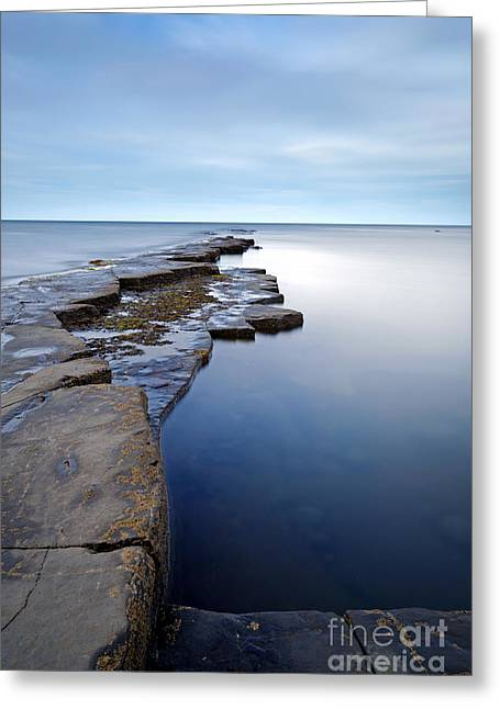 Ledge Photographs Greeting Cards - Kimmeridge Bay in Dorset ledge out to sea Greeting Card by Richard Thomas