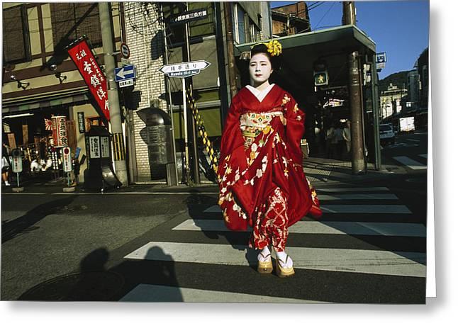 Kansai Photographs Greeting Cards - Kimono-clad Geisha Crosses A Street Greeting Card by Justin Guariglia