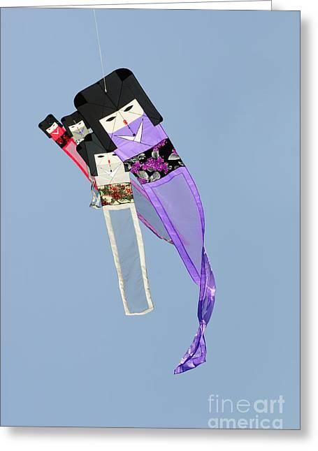 Kite Greeting Cards - Kimono Dolls Greeting Card by David Lade