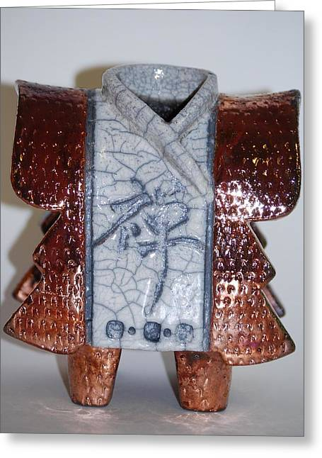 Hand Built Ceramics Greeting Cards - Kimono People Greeting Card by Victoria Page