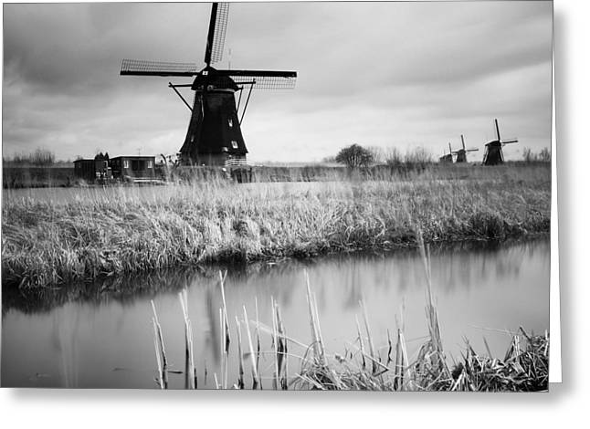 Windmills Greeting Cards - Kinderdijk 02 Greeting Card by Nina Papiorek