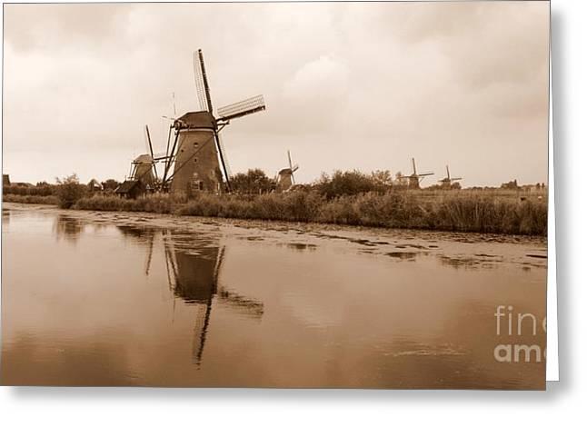 Kinderdijk In Sepia Greeting Card by Carol Groenen