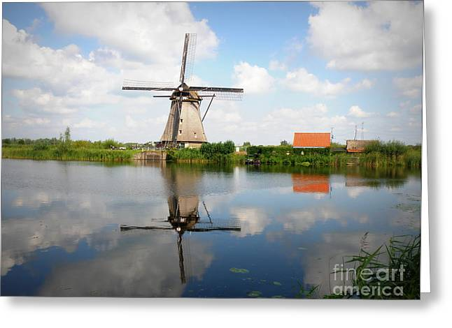 Lainie Wrightson Greeting Cards - Kinderdijk Windmill Greeting Card by Lainie Wrightson