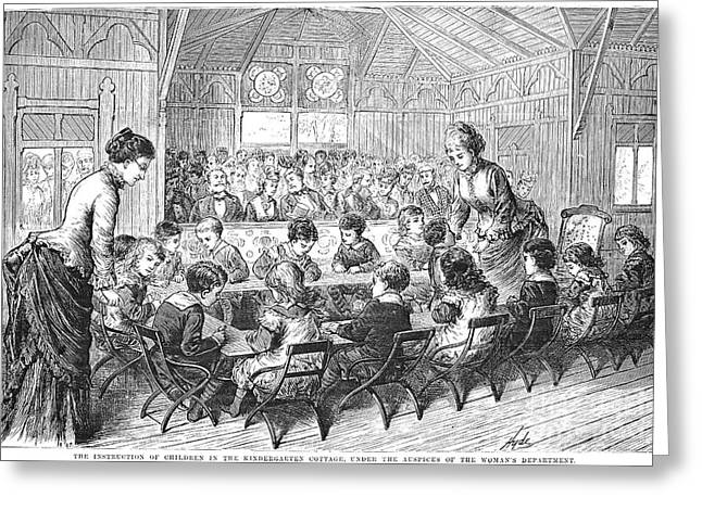Schoolmistress Greeting Cards - Kindergarten, 1876 Greeting Card by Granger