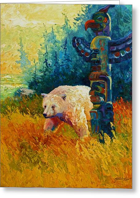 Spirit Paintings Greeting Cards - Kindred Spirits - Kermode Spirit Bear Greeting Card by Marion Rose