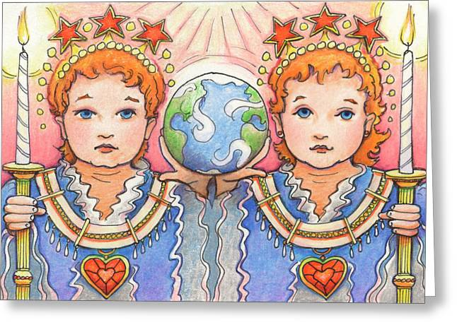 Indigo Drawings Greeting Cards - King and Queen of a Future World Greeting Card by Amy S Turner