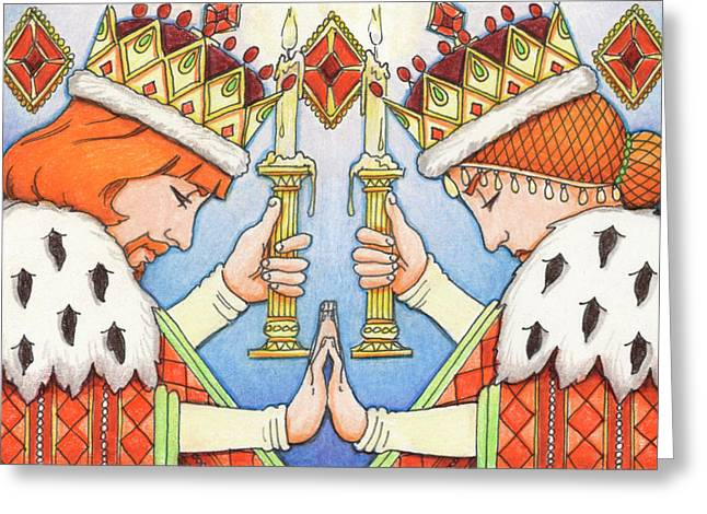 Yang Drawings Greeting Cards - King and Queen of Diamonds Greeting Card by Amy S Turner