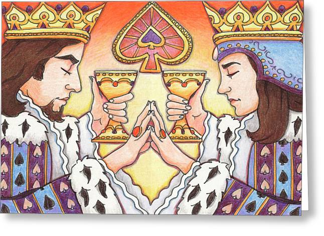 Yang Drawings Greeting Cards - King and Queen of Spades Greeting Card by Amy S Turner