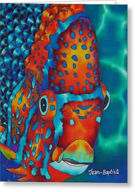 Caribbean Art Tapestries - Textiles Greeting Cards - King Angelfish Greeting Card by Daniel Jean-Baptiste