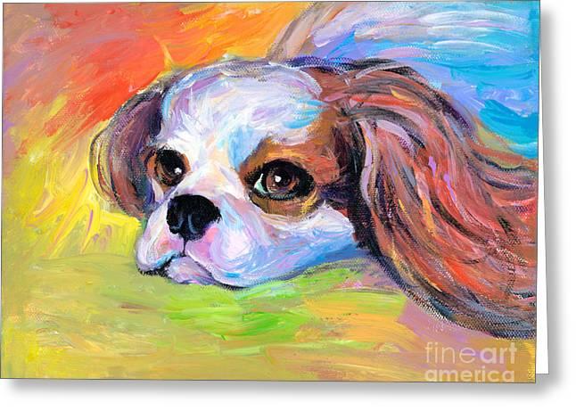 Breed Drawings Greeting Cards - King Charles Cavalier Spaniel Dog painting Greeting Card by Svetlana Novikova