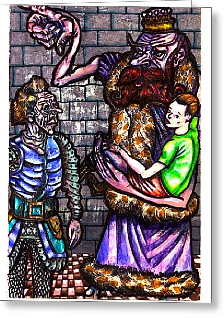 Stepping Stones Drawings Greeting Cards - King Crabclaw Calls For A Meeting Greeting Card by Al Goldfarb